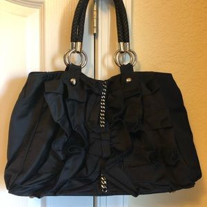 Bebe satin black ruffle purse